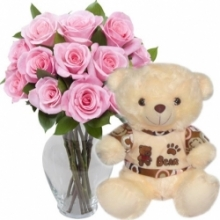12 Pink Roses with Cute Bear