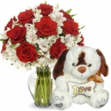 12 Rose with Carnation & Bear