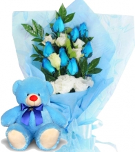12 Blue Roses with Blue Bear