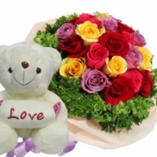 12 Mixed Roses with White Bear