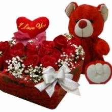 12 Red Roses Box with Red Bear