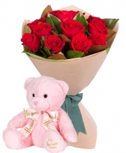 12 Red Roses with Pink Bear
