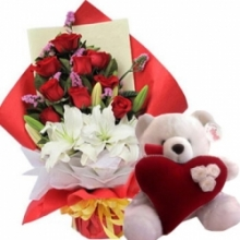 12 Roses Lilies Bouquet with White Teddy Bear