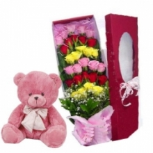 24 Mixed Roses with Pink Teddy Bear