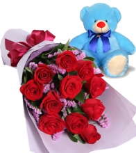 12 Red Roses with Blue Bear