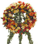 Colorful Mixed Roses Wreath with Stand