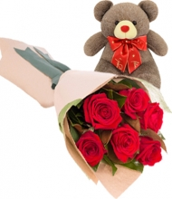 6 Red Roses with Bear