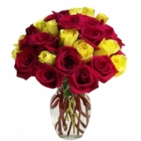 18 Red & Yellow Roses in a Vase