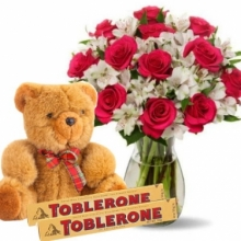 Pink Rose vase,Brown Bear with Toblerone chocolate