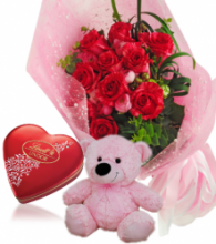 Red Rose bouquet,Pink Bear with Lindt Chocolate