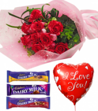 Red Roses,Cadbury Chocolate with Love U Balloon
