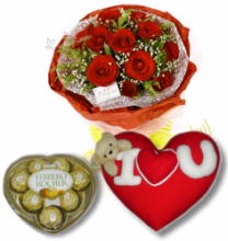 Red Rose bouquet,Chocolate box with Wesley Pillow