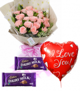12 Pink Roses,Cadbury Chocolate w/ Love U Balloon