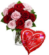 12 Pink & Red Rose Vase & I Love U Balloon