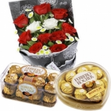 12 Mixed Rose Bouquet w/ 2 Box Ferrero Chocolate