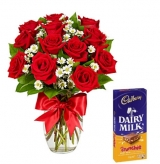 12 Red Roses Vase with Cadbury Dairy Milk