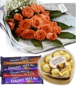 12 Orange Roses Bouquet w/ Dairy Milk 4 Varieties