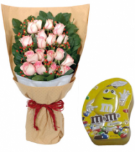 24 Pink Roses Bouquet with M & M Chocolate
