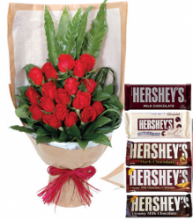 24 Red Roses with Hershey's Chocolate