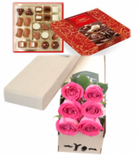 6 Pink Roses Box with Sweet Chocolate Box