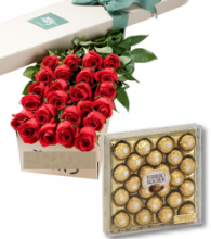 24 Red Roses Box with 24pcs Ferrero Chocolate