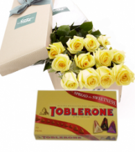 12 Yellow Roses Box with Toblerone 3 Varieties Gift Box
