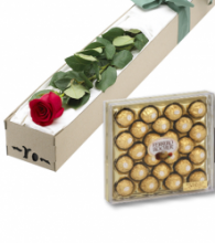Single Red Roses Box w/ 24pcs Ferrero Chocolate Box