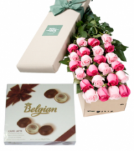 24 Pink & White Roses Box with Belgian Chocolate