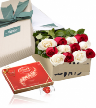 12 White & red Roses Box with Lindt Chocolate