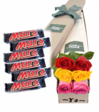 6 Red,Yellow & Pink Roses with 6 Mars Chocolate