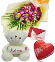 Mixed Flowers Bouquet,Pink Bear with Lindt Chocolate Box