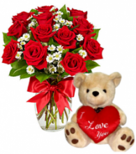 12 Red Roses Vase with Love U Bear