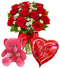 12 Red Roses Vase,Red Bear with Love U Balloon