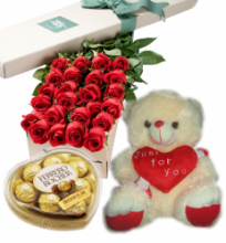 24 Red Roses Box, Chocolate Box with White Love U Bear
