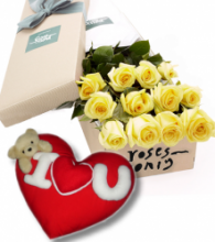 12 Yellow Roses Box with Wesley Heart Shape Pillow