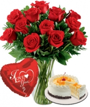12 Red Roses Vase,Love U Balloons with Peach Mango Red Ribbon Cake