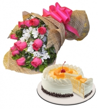 12 Pink Roses Bouquet with Black Forest Cake