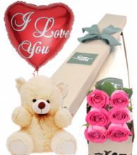 6 Pink Roses Box,Pink Bear with I Love U Balloon