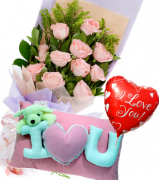 12 Pink Roses Bouquet with Pillow & Love U Balloon