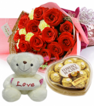 12 Red & 6 Yellow Rose Bouquet Bear w/ Ferrero Rocher