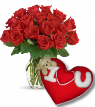 24 Red Roses Vase with Wesley Pillow w/ I Love You