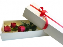 White Box with Three Red Roses