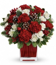 The Christmas Red and white Carnations Bouquet