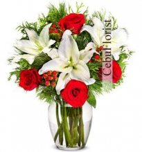 Christmas Red Rose & Lily in Vase