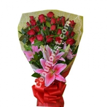 12 Red Roses with Lilies