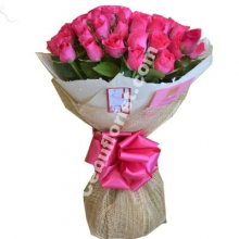 24 Pink Roses in Bouquet