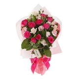 24 Pink & White Roses in Bouquet