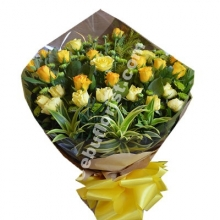 24 Dark & Light Yellow Rose Bouquet