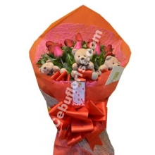 6 Red Roses Bouquet & Mini Teddy