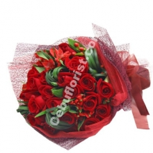 Bouquet of Red Roses with Seasonal Flower